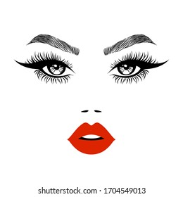 Woman beautiful face, sexy luxurious eyes with perfectly shaped eyebrows and full lashes. Red lips, sexy kiss, flat style, vector illustration. Beauty logo. Element design, isolated on white.