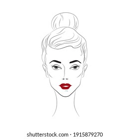 Woman Beautiful female face with makeup. Vector illustration. Fashion girl, style, beauty. Vector illustration lineart