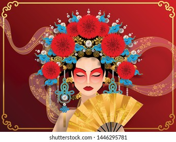 Woman in Beautiful traditional Chinese opera ,Vector illustration for cute design.