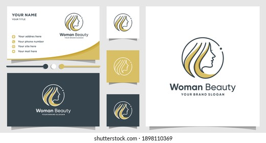 Woman beauty logo with modern line art style and business card design template Premium Vector