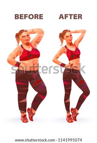 Woman Before After Weight Loss Low Stock Vector Royalty Free