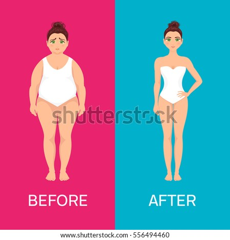 woman before after weight loss on のベクター画像素材 ロイヤリティ