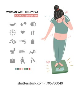 woman with belly fat character design with icon set