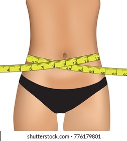 Woman belly with measuring tape, vector