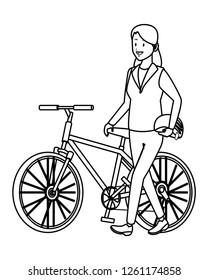 woman with bicicle black and white