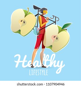 Woman with a bicycle, apples instead of wheels. Poster motivation healthy lifestyle