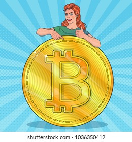 Woman with big bitcoin. Smiling woman. Gestures thumbs up. Vector illustration in pop art style.
