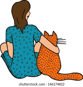 Woman with big red cat. Hand drawn illustration.