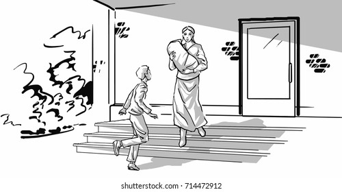 Woman with a big roll in her hands walking down the steps of old building. A boy is running towards her. Sad mom with baby and son teenager. Single parent family. Black and white vector sketch drawing