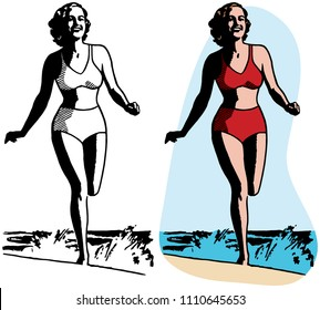 A woman in a bikini runs along a beach.