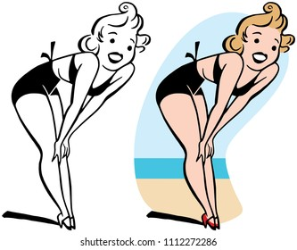 A woman in a bikini smiling and bending over.