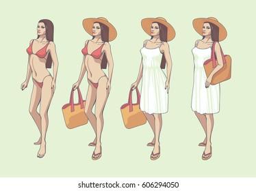 Woman in bikini and white dress. Full body. Orange and white.