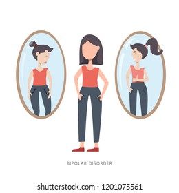 Woman with Bipolar mental disorder. Sad and happy girl stayinf for the mirror . Vector illustration