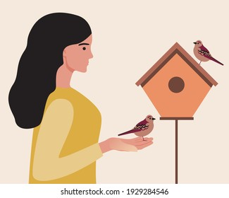 Woman with birds. Ornithological flat vector stock illustration. Ornithologist with a feeder or birdhouse. Birds in hands. Ornithology concept. Ornithological illustration