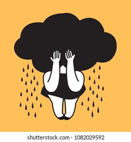 A Woman With Black Cloud Shaped Head Crying Hard Concept Card Character illustration