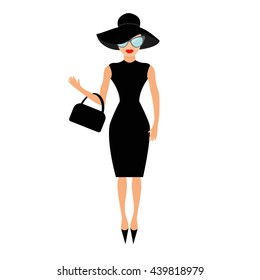Woman in black elegant hat, bag and sunglasses waving. Rich and beautiful celebrity girl. Beauty fashion model face red lips. People collection Cute cartoon character Flat White background Vector