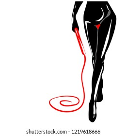 A woman in black latex with a whip in hand, sexual domination, bdsm outfit