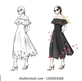 woman in a black summer dress, vector fashion illustration