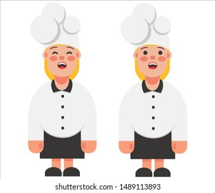 woman in black and white chef uniform vector