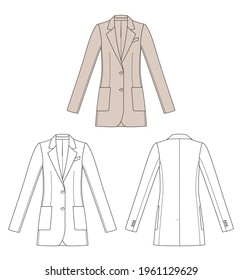 Woman blazer in vector graphic. Woman staight shape longline blazer with front patch pockets, collar and two buttons.  Front and back views. Fashion illustration template.