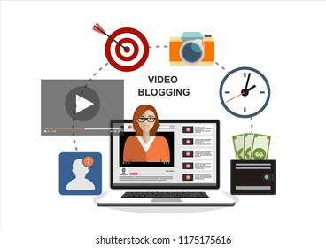 Woman blogger. Video computer blogging concept. Flat vector illustration