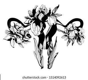 Woman blooming reproductive system uterus hand drawn floral pattern ornament spring flowers iris narcissus. Vector grungeBlack and white