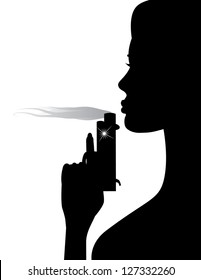 Woman Blowing Smoke from Gun. EPS 8 vector, no open shapes or paths. Grouped for easy editing.