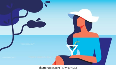 Woman in Blue Blouse with Glass in Hand Sitting near Sea. Vector Illustration. Woman in White Hat with Cocktail Sitting near Sea. Terrace with View to Sea. Happy Holiday. Summer Enjoy. Drink Cocktail.