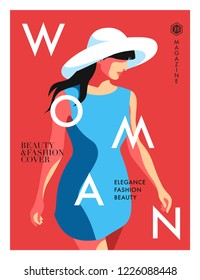Woman in blue, wearing big hat, isolated, red background. Fashion women magazine cover design. Vector illustration