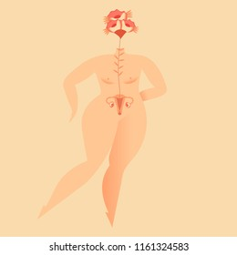Woman body concept. Plus size girl. Flower your body concept. Woman Health. Pink October. Woman with uterus. Flower uterus. Vector illustration on background.