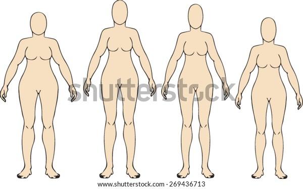 Woman Body Figure Template Vector Art Stock Vector Royalty Free 269436713