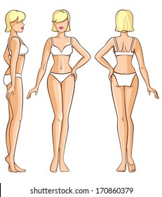 woman body - front, back and side view vector illustration
