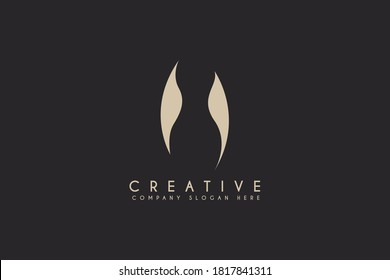 Woman body Health and wellness logo design with negative space style. vector illustration