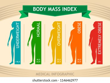 Woman body mass index info chart. Female silhouette medical infographic. Vector illustration