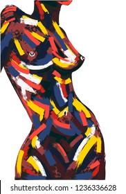 Woman body oil painting. Brush stroke hand-drawn illustration.