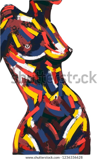 Woman Body Oil Painting Brush Stroke Stock Vector Royalty Free 1236336628