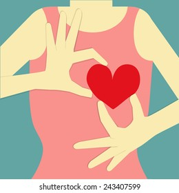 woman body on blue background, who is her hand post to give her red heart