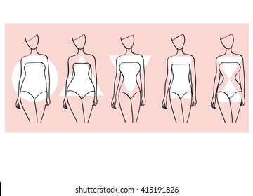 Woman body shapes. Round, Triangle, Rectangle, Hourglasses types. Vector illustration. Line drawing