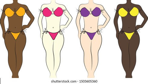 Woman body silhouette in bikini illustration, vector, skin color differences, different kind of bikini and skin color