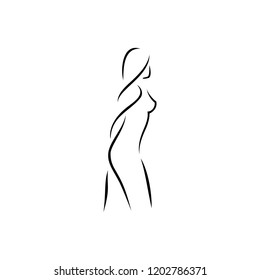 Woman body silhouette outline style related to health or body care. Logo design for fitness or beauty care