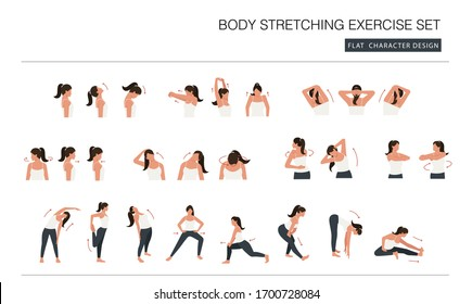 woman body stretching exercise set. faceless flat cartoon character design.