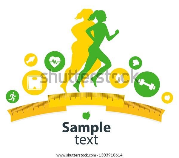 Woman Body Transformation Concept Running Girl Stock Vector