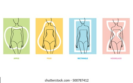 Woman body types. Apple, pear, rectangle, hourglasses female shapes. Vector illustration