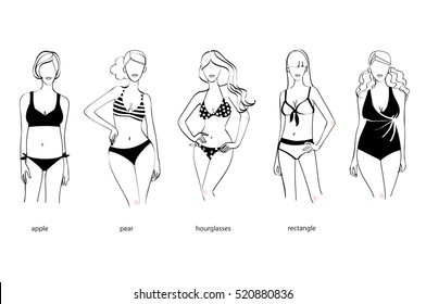 Woman body types. Female with a big shapes. Vector illustration.