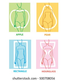 Woman body types. Female shapes. Apple, pear, rectangle, hourglasses. Vector illustration