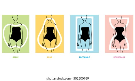 Woman body types. Female shapes. Apple, pear, hourglasses. Vector illustration