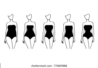 Woman body types set. Apple, pear, carrot, hourglasses shapes.