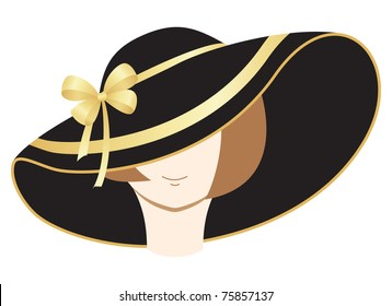 A woman in the bonnet. Vector illustration, isolated on a white.