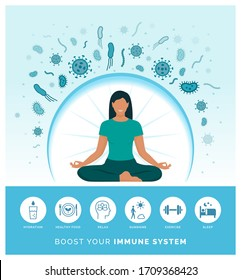 Woman boosting her immune system naturally and defeating viruses, she is following a healthy lifestyle and practicing meditation