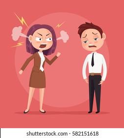 Woman boss character yells at worker. Vector flat cartoon illustration